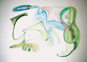 """Abstraktion Pelikan, Brille"", 14x20 cm, Erstellt 08/2001"