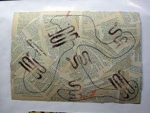 """""""Literatur Collage"""", 35x50 cm, Schnurdruck Tusche, Erstellt 02/2004"""