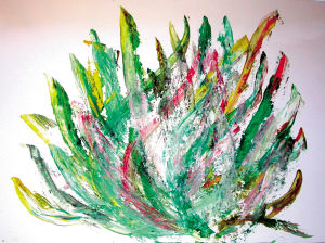 """""""Brennender Dornenbusch"""", 25x35 cm, Acryl gespachtelt auf Malkarton, Erstellt 02/2004"""