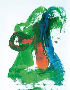 Acryl auf Leinwand in grün-orange, 40x50 cm, Erstellt 02/2009