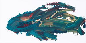 """Reptil - Fisch"", Acryl auf Leinwand, 15x35 cm, Erstellt 02/2009"