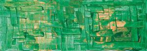 """Sonne über Häusermeer"", Acryl auf Malkarton, 17,5x50 cm, Erstellt 202/2009"