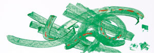 """""""Spurensuche"""", Acryl gespachtelt auf Malkarton, 17,5x50 cm, Erstellt 02/2009"""