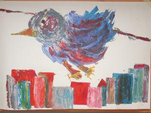 """""""Vogel über Skyline"""", 70x100 cm, Erstellt 12/2001"""