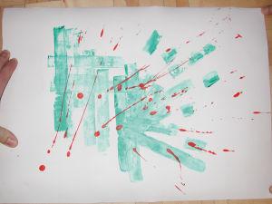 """""""Farbexperiment grün"""", 35x50 cm, Acryl gespachtelt und Spritztechnik auf Karton, Erstellt 2002"""