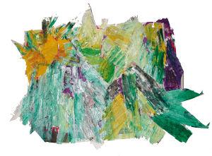 """""""Sonne über Gipfeln"""", 80x60 cm, Zeitung gerissen mit Farbe geklebt, Erstellt 2002"""