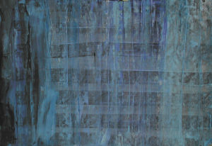 """""""Farbgitter, blau/schwarz"""", 33x23 cm, Acryl gespachtelt auf Karton, Erstellt 2001/02"""