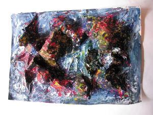 """Landschaft"", 35x50 cm, Literatur-Colalge, Acrylfarbe, Erstellt 02/2004"