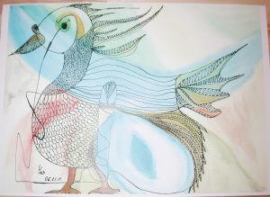 """""""Phantasie-Vogel"""", 24x32 cm, Erstellt 08/2001"""