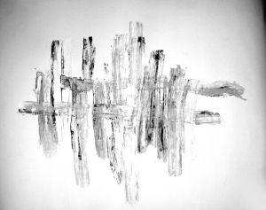 """""""Reduzierte graue Streifen"""", 37x50 cm, Acryl gespachtelt auf Karton, Erstellt 2002"""