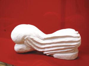 """""""Liegende"""", 30x15x10 cm, Alabastergips, Erstellt 2003"""