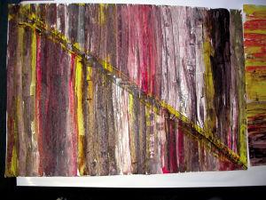 """""""Variation in Braun, schräg geteilt"""", 35x50 cm, Acryl gespachtelt auf Malkarton, Erstellt 02/2004"""