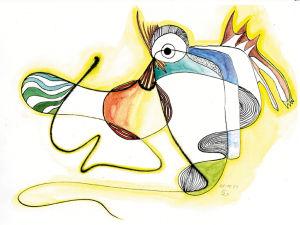 """""""Vogeltier"""", 21x29,7 cm, Erstellt 08/2001"""
