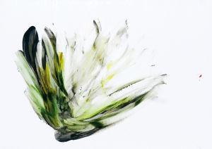 """""""Wüstenblume"""", Acryl auf Kunststoff - Fingerwerk, 13x20 cm, Erstellt 02/08"""