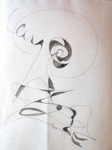 """""""Fließende Linien - Baum"""", Bleistift auf Papier, 37x46 cm, Erstellt 02/2004"""