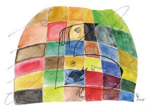 """""""Nessie auf Farbfeldern"""", 21x29,7 cm, Erstellt 2009"""
