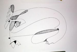 """""""Abstraktion vom 25.02.04"""", 25x35 cm, Tusche auf Papier, Erstellt 02/2004"""