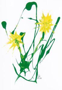 """""""bizarre gelbe Blüten"""", 20x28 cm, Erstellt 02/2008"""