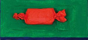 """""""Zeitung von Freitag 13.02.2009 als Geschenk verpackt"""" Zeitung - Collage/Acryl, 38x17x9 cm, 02/2009"""