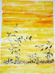 """""""Die Wüste lebt"""", 50x70 cm, Acryl gespachtelt auf Karton, Erstellt 2002"""