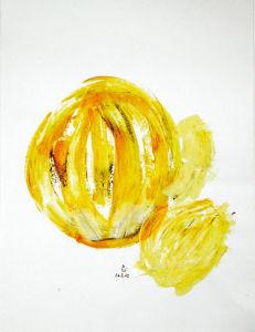 """""""Gelbe runde Formen"""", 24x32 cm, Acryl gespachtelt auf Karton, Erstellt 2002"""
