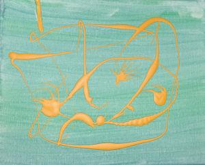 """""""gelbes Gesicht auf Türkis"""", Acryl auf Leinwand, 24x30 cm, Erstellt 02/08"""