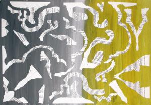 """""""grau-gelb"""", Literatur-Collage, Acrylfarbe, Erstellt 12/03"""
