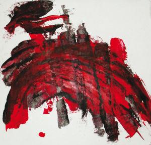 """""""Infernalisches Rot"""", 20x21 cm, Acryl gespachtelt auf Karton, Erstellt 2002"""