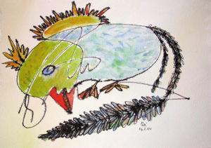 """""""kleines Vogeltier 2"""", 18x24 cm, Erstellt 02/2004"""