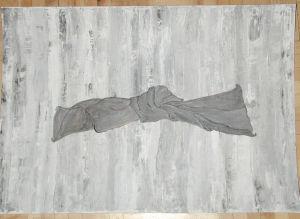 """""""Knoten"""", 50x35,5 cm, graue Acrylfarbe in Spachteltechnik auf weißem Karton, Erstellt 2002"""