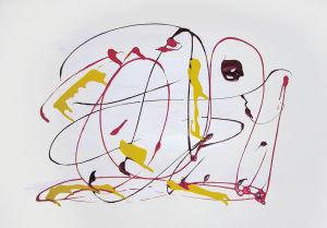 """""""Nessi in Farbklecksen"""", 30x40 cm, Erstellt 12/2005"""