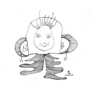 """""""neugieriges Gesicht"""", 21x29,7 cm, Erstellt 09/2001"""
