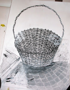"""""""Präsent Korb-Studie-Rohform"""", 35x50 cm, Tusche und Acryl, Erstellt 02/2004"""