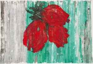 """""""Rote Blüten auf grün-grau"""", 35x50 cm, Acryl gespachtelt auf Karton, Erstellt 2002"""
