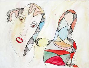 """""""verschnürte Puppe mit schrägem Gesicht, 24x32 cm, Erstellt 03/2002"""