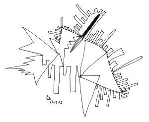 """""""Bedauungsplan, Pinsel"""", Tuschezeichnung, 21x29,7 cm, Erstellt 12/2009"""