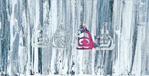 """""""Zeitungsscherenschnitt auf Acryl, 17x33,5 cm, Erstellt 02/2009"""